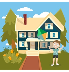 Happy Boy Launches a Kite near the House Summer vector image