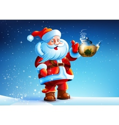 Santa Claus offers drink tea vector image vector image