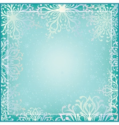 Winter background with ornamental snowflakes vector image