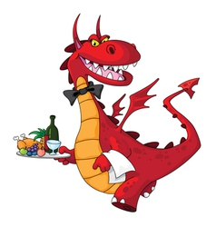 dragon waiter with food tray vector image