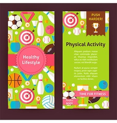 Flyer Template of Healthy Lifestyle Objects and vector image vector image
