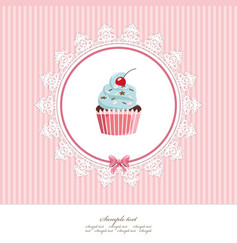 greeting card template with cupcake for birthday vector image