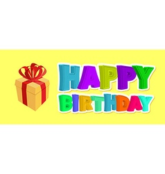 Happy birthday greetings Gift and inscription of vector image