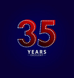 35 years excellent anniversary celebration red vector