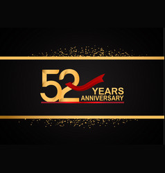 52 years anniversary logotype with golden color vector