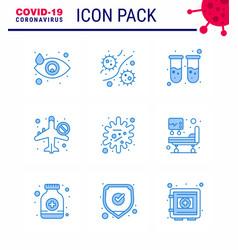 9 blue set corona virus epidemic icons vector