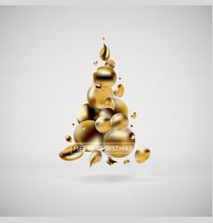 Abstract golden christmas tree liquid fluid banner vector