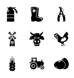 Agriculture stuff icons set simple style vector