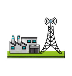antenna and factory vector image vector image