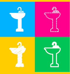 bathroom sink sign four styles of icon on four vector image
