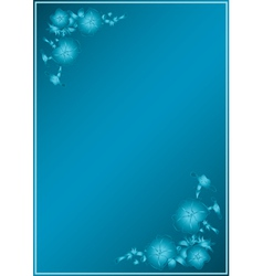 blue card with gradient in blue flowers vector image