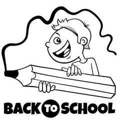 boy with crayon back to school cartoon color book vector image