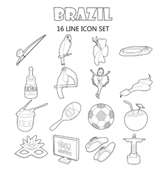 Brazil icons set outline style vector