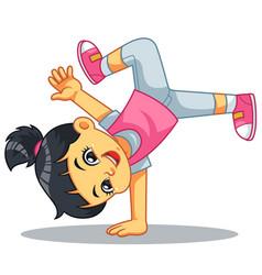 Break dancer girl practicing her moves vector