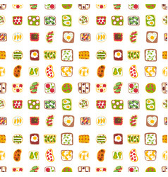 breakfast toast seamless pattern backgroun slices vector image