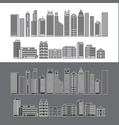 buildings and skyscrapers object line set vector image