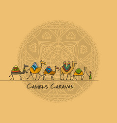 camels caravan sketch for your design vector image