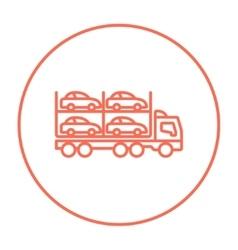 Car carrier line icon vector