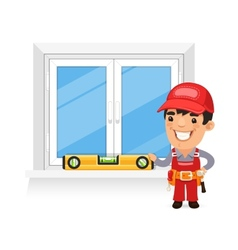 Carpenter Checks the New Window vector image