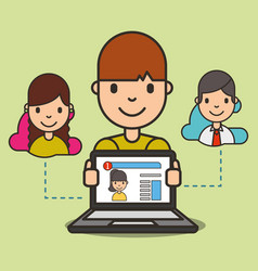 cartoon boy with laptop website girl on screen vector image