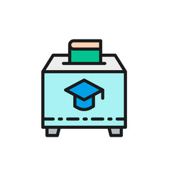 charity box with book donation to education flat vector image