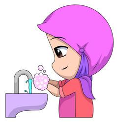 chibi muslim female cartoon characters a vector image