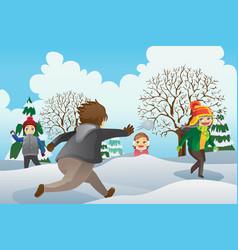 Children playing snowballs vector