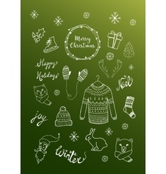 Christmas background with doodle icons vector