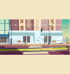 city street with car road and tram rails vector image