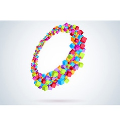 Colorful cubes form a ring - perspective vector image