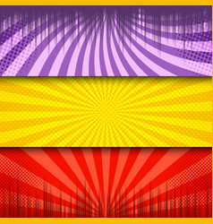 comic light horizontal banners vector image
