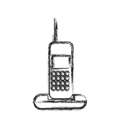 cordless phone communication device sketch vector image