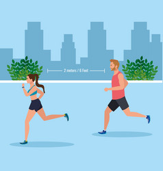 Couple jogging and keeping social distance on vector