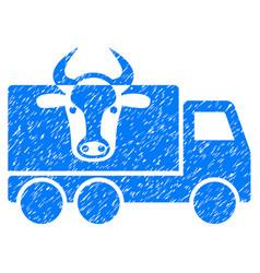 Cow transportation icon grunge watermark vector