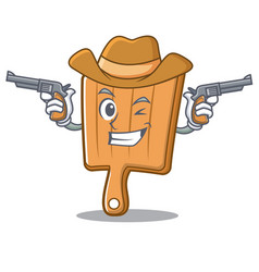 cowboy kitchen board character cartoon vector image