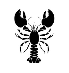 crayfish lobster silhouette drawing vector image