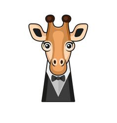 cute giraffe face with tuxedo and bowtie cartoon vector image