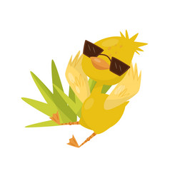 cute little yellow duckling character wearing vector image