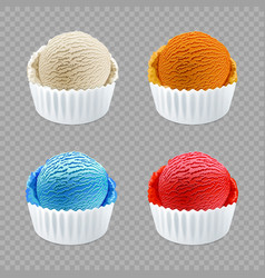 different flavor ice cream scoops side view on vector image