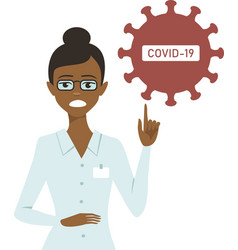 Doctor pointing to covid-19 stop sign vector