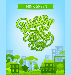 Earth day banner with eco city and green house vector