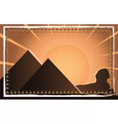 Egyptian pyramids at sunset vector