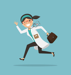 emergency woman doctor running to help with vector image