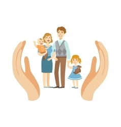 Family Wih Two Kids Protected By Palms vector image