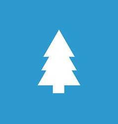 Fir-tree icon white on the blue background vector