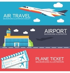 flat building airport with flying plane tour and vector image