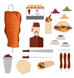 Flat design doner kebab elements and chef vector