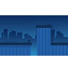 Flat of building and city landscape vector
