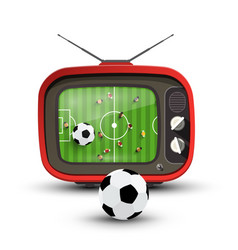 football on tv - soccer game with ball on vector image