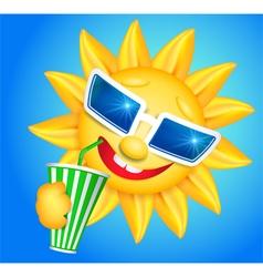 Fun sun drinking vector image